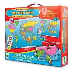 The Learning Journey Puzzle Doubles Puzzle & Poster Series Map of the World Floor Puzzle