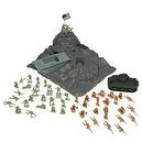 BMC Iwo-Jima Plastic Army Men Boxed Playset: 52 Pieces 54mm Figures, Island, Sherman Tank, Amtrack Amphibious Vehicle