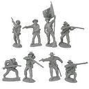 Civil War 1863 Confederate Firing Line Plastic Army Men: 16 GRAY 54mm Figures - 1:32 scale