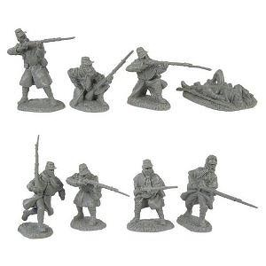 Civil War Infantry Greatcoat Plastic Army Men: 16 GRAY 54mm Figures - 1:32 scale