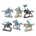 Civil War Charging Cavalry Plastic Army Men: LIGHT BLUE Set of 6 54mm Figures and 6 Horses - 1:32 scale