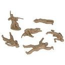 Plains Indian Dismounted Warriors with Casualties Plastic Army Men: 12 piece set of 54mm Figures - 1:32 scale