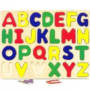 Educational Wooden Alphabet Puzzle with Raised Letters