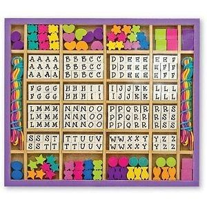 Melissa & Doug Deluxe Wooden Stringing Beads with over 200 beads