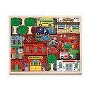 Melissa & Doug Deluxe Wooden 53-Piece Town Blocks Set