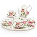 Mini Saddlebrooke Tea Set Flowers Porcelain Teacup Teapot Saucers Tray Pink Roses Sugar Creamer