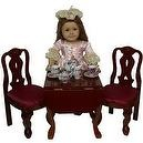 Mahogany Stained Drop Leaf Table with 2 Queen Ann Chairs Scaled to Fit American Girl Dolls