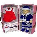 "Canvas with Wood Doll Trunk for Bitty Baby or Up to 15"" Dolls (Pink)"