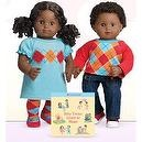 "American Girl Bitty Twins - African American Boy and Girl with ""Bitty Twins Learn to Share"" book"