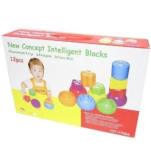 GSI Quality Educational Intelli-Shape Series Geometry Art Blocks Game, 12 Pieces - For Babies, Toddlers And Young Children