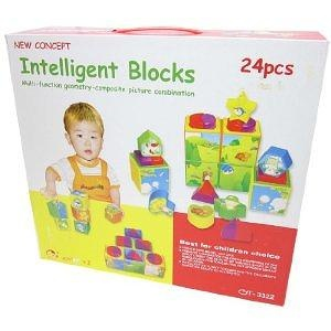 GSI Quality Educational Intelli-Shape Series Geometry Blocks Game, 24 Pieces - For Toddlers And Young Children