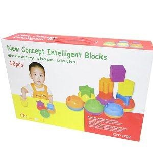GSI Quality Educational Intelli-Shape Series Geometry Blocks Game, 12 Pieces - For Babies, Toddlers And Young Children