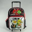 "16"" Angry Birds Silver Front Pocket Rolling Backpack"