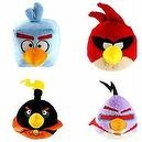 "Angry Birds Space Birds Set of 4 Plush Dolls Featuring 5"" Red Bird, Black Bomber, Ice Bird, and Lazer Bird"