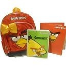 Popular Angry Birds 16 Inch Kids Backpack with Adorable Orange Satin Bow & BONUS FOLDER & SPIRAL NOTEBOOK