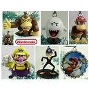 Unique Set of 7 Nintendo Super Mario Brothers Christmas Tree Ornaments Featuring Mario Bottle Cap Ornament, Wario, Waluigi, Goo