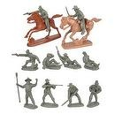Civil War Wounded Artillery & Cavalry Plastic Army Men: Set of 10 GRAY 54mm Figures and 2 Horses - 1:32 scale
