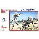 WWII - US Marines: 20 piece set of 54mm Plastic Army Men Figures - 1:32 Scale