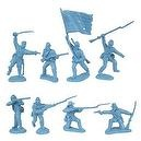 Civil War 1863 Union Infantry Charging Plastic Army Men: 16 LIGHT BLUE 54mm Figures - 1:32 scale
