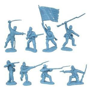 Civil War 1863 Union Infantry Charging Plastic Army Men: 16 LIGHT BLUE 54mm Figures - 1:32 scale
