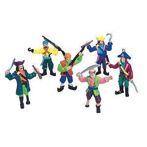 Set 12 Small Plastic Toy Pirates! Pirate Figures stand 2-3/4 inches tall (70mm), 1/24th scale