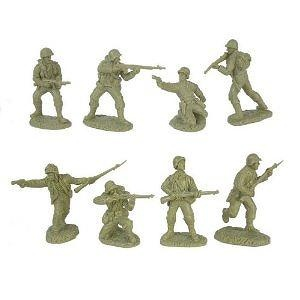 WWII US Army Infantry GIs Plastic Green Army Men: 16 piece set of 54mm Figures - 1:32 scale
