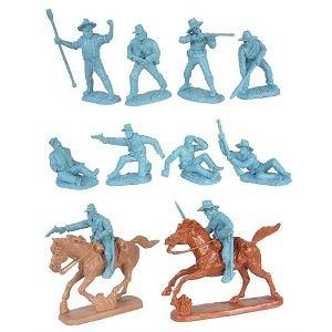 Civil War Wounded Artillery & Cavalry Plastic Army Men: Set of 10 LIGHT BLUE 54mm Figures and 2 Horses - 1:32 scale