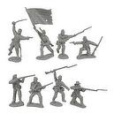 Civil War 1863 Union Infantry Charging Plastic Army Men: 16 GRAY 54mm Figures - 1:32 scale