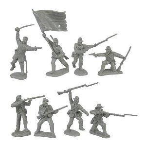Civil War 1863 Union Infantry Charging Plastic Army Men: 16 GRAY 54mm Figures - 1:32 scale