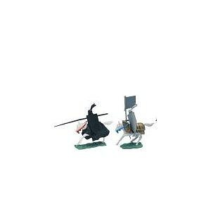 Medieval Knights: Pair of 54mm Plastic Army Men Figures on Horseback - 1:32 scale