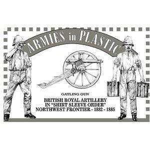 Northwest Frontier 1882-1885 British Royal Artillery (5) w/Gatling Gun 1/32 Armies in Plastic