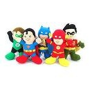 "Dc Comic Justice League Super Hero 13"" Plush Set with Baby Batman, the Flash, Green Lantern, Robin, and Superman Dolls Mint wit"