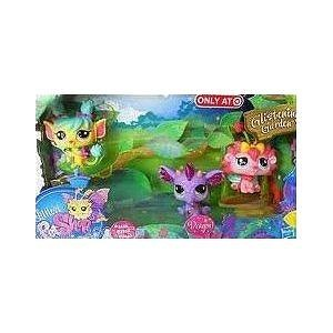Littlest Pet Shop Fairies Glistening Garden Exclusive 3Pack PURPLE Dragon, Rose Daffodil