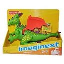 Imaginext Castle Series 13 Inch Long Electronic Figure - Green Deluxe Dragon with Orange Color Wings Plus Lights and Sounds