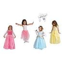 5 Item Bundle: Little Adventures Princess Dress Up Costume Set w/ Cinderella, Belle, Sleeping Beauty, Pink Fairy Tutu w/ Free H