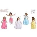7 Item Bundle: Little Adventures Princess Dress Up Costume Set w/ Cinderella, Belle, Sleeping Beauty, Bride, Pink Fairy Tutu, L