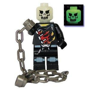 "Custom 2"" Ghost Rider Mini Figurine with Glow in the Dark Head and Chain Whip"