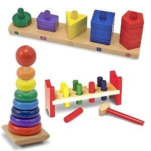 Melissa & Doug Deluxe Wooden Pound-A-Peg with Stack and Sort Board and Rainbow Stacker