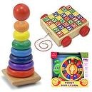 Melissa & Doug Rainbow Stacker and Classic ABC Block Cart with Jolly Point and Learn Snail