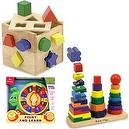 Melissa & Doug Shape Sorting Cube and Geometric Stacker with Jolly Point and Learn Snail