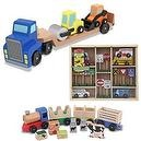 Melissa & Doug Low Loader with Wooden Farm Train and Wooden Vehicles & Traffic Signs Bundle
