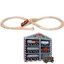 Melissa & Doug Classic Wooden Figure Eight Train Set with Wooden Train Cars