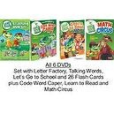 Leap Frog Bundle of 6 DVDs plus 26 Flash Cards: Learning Set (2009): Letter Factory, Talking Words Factory, Lets Go to School