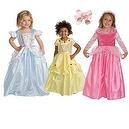 4 Item Bundle: - Cinderella, Belle, Sleeping Beauty Princess Cosutme -+ Hair Bow - Girls Ages 1-3 - Machine Washable!