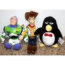 "Disney Toy Story 12"" Woody Cowboy, 9"" Buzz Lightyear and 6"" Wheezy Plush Bean Bag Dolls Mint with Tags"