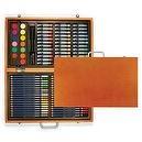 Xonex Wooden Art Set, Stores 36 Colored Pencils, 36 Oil Pastels, 14 Watercolor Cakes, 2 Paintbrushes and A Palette, 15-3/4 X 10