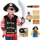 Melissa & Doug Pirate Outfit Dress Up Costume with Pirate Parrot, Map and Coins Set of 5 Items