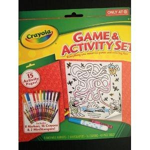 Crayola Game and Activity Set - Everything You Need for Games and Coloring Fun - Includes 15 Activity Pages, 8 Markers, 16 Cray