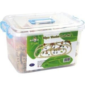 80 Pieces Wooden Train Set in a Plastic Container