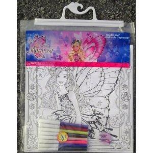 Barbie Mariposa Doodle Kit - 6 Posters and 8 Colored Markers